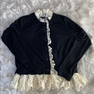 Moschino ❤️ vintage black and white ruffle top